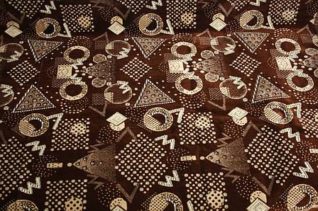 Комплект полуторных гобеленовых покрывал на кровать и кресла Фигуры коричневого цвета, фото 2