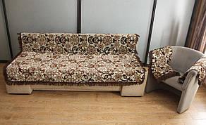 Комплект полуторных гобеленовых покрывал на кровать и кресла Цветы цвет бежевый с коричневым, фото 3