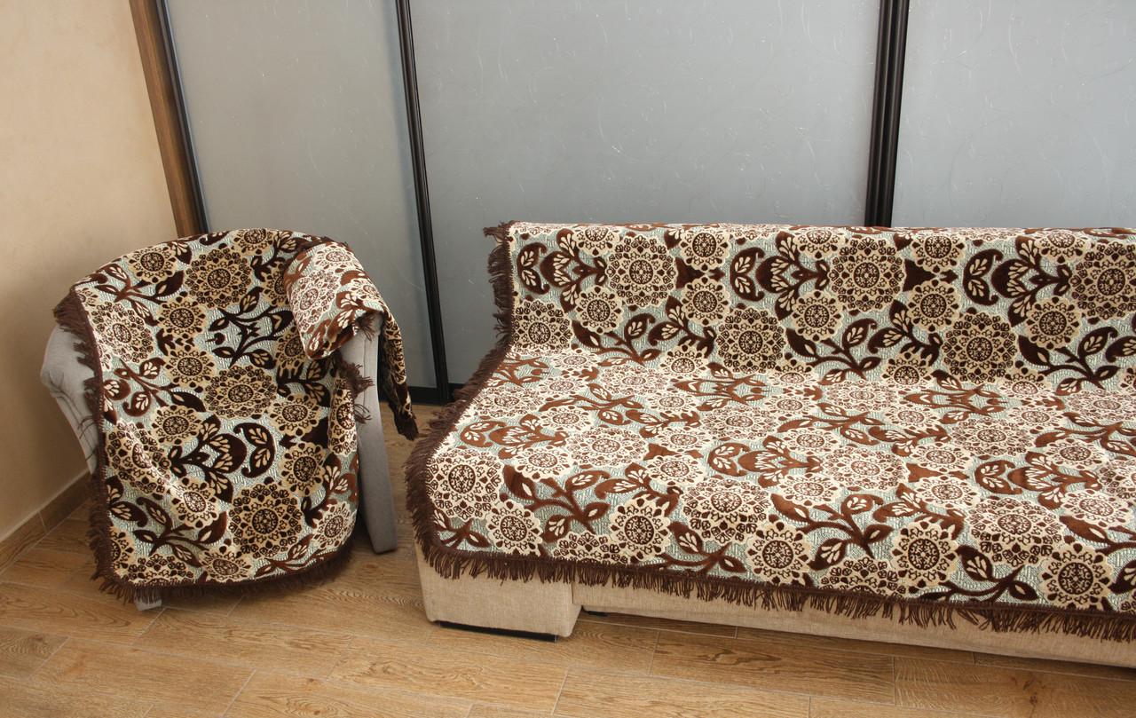 Комплект полуторных гобеленовых покрывал на кровать и кресла Цветы цвет бежевый с коричневым