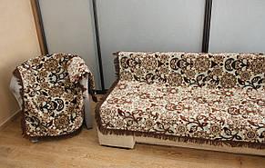 Комплект полуторных гобеленовых покрывал на кровать и кресла Цветы цвет бежевый с коричневым, фото 2