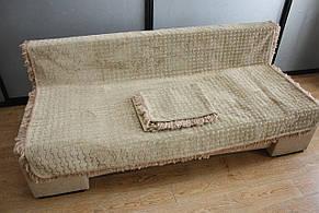 Комплект полуторных гобеленовых покрывал на кровать и кресла Квадратный узор светло бежевого цвета, фото 2