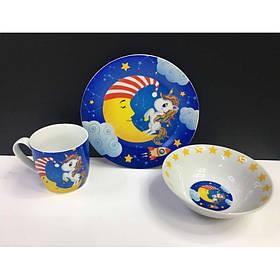 Набор детской посуды S&T Единорог 3 предмета Керамика (5141)