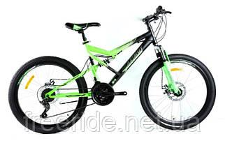 Подростковый двухподвесный велосипед Azimut Scorpion 24 G-FR/D (17) черно-зеленый