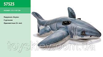 """Надувн. """"Акула"""" 57525 (6шт) вініл, 1-місн. (3+ років) ручками, рем.комплект, в кор. 154*104см"""