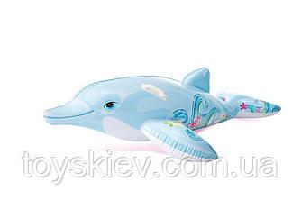 """Надувн. """"Дельфін"""" 58535 (6шт) вініл, з ручками (3+ років), рем комплект, в кор. 175*66см"""