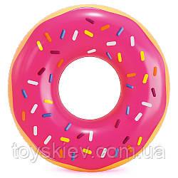 Коло надувн. 56256 (12шт) Рожевий пончик 114 см