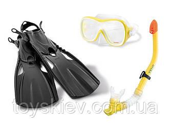 """Набор для плавания 55658 (6шт) """"Wave Rider"""" трубка, маска, ласты, от 8 лет"""