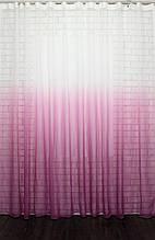 """Відріз (2х2,7м.) тканини, тюль розтяжка """"Омбре"""" на батисті (під льон), колір рожевий з білим. Код 504ту 00-450"""
