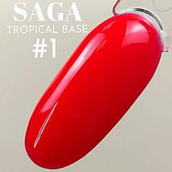 НЕОНОВЫЕ базы SAGA tropical BASE для ногтей в ассортименте 7 цветов - Красная Камуфлирующая Цветная База SAGA