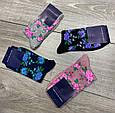 Жіночі демісезонні шкарпетки асорті з квітковим принтом бавовна високі 12 шт в уп, фото 2