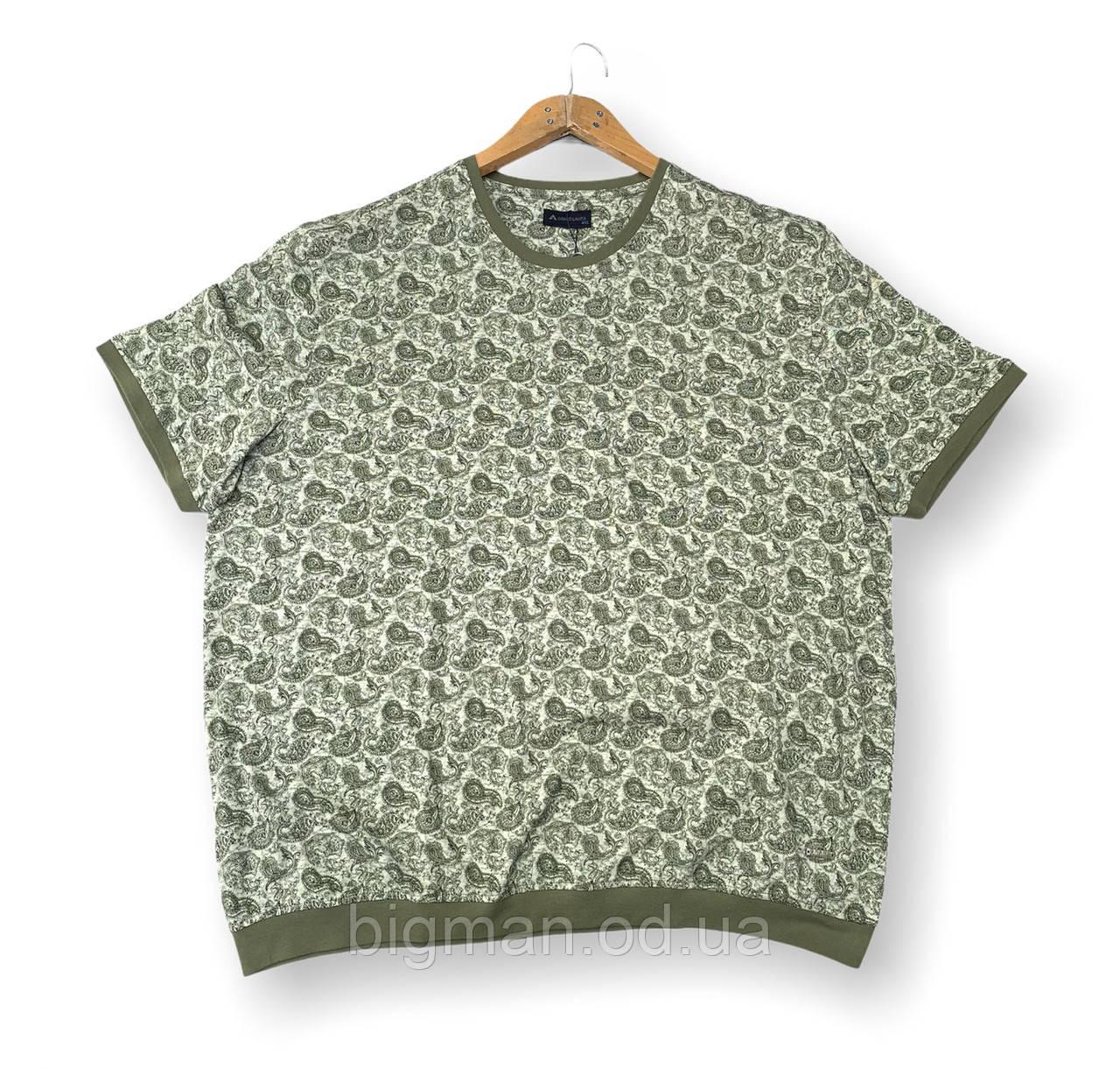 Мужская футболка на резинке зеленая батальная (большие размеры 4XL 5XL) Grand la Vita, Турция