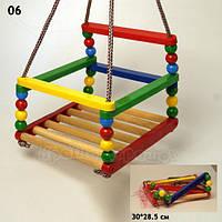 Качели 06 (10шт)пластик|дерево,для детей от 3-х до 5-ти лет,до 50кг,в сетке