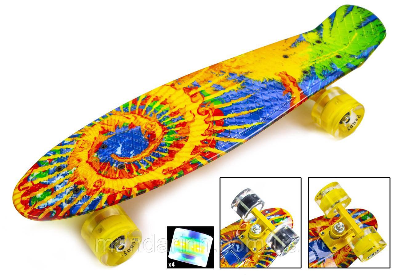 "Penny Board 22 Скейтборд ORIGINAL ""Sunflowers"" Светящиеся колеса"