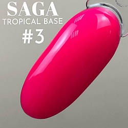 НЕЙЛ НОВИНКА! Неоновая Камуфлирующая База для ногтей SAGA tropical BASE ярко розовая - в ассортименте 7цветов