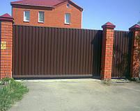 Ворота откатные, зашивка профнастил - вертикальное исполнение, фото 6