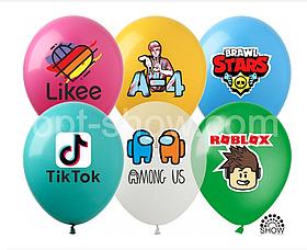 """Латексные шары с рисунком """"Микс интернет"""" 12'' (100 ШТ) ТМ SHOW (30 СМ)"""