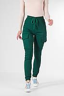 Джоггеры жіночі з кишенями з стрейч-котону, зелені штани приталені жіночі штани VS 1087, фото 1