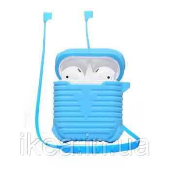 Чохол для навушників + тримач Coteetci синій для Apple Airpods