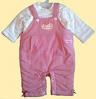 Костюмчик утепленный, для новорожденной девочки: кофточка и полукомбинезон, 0, 3, 6 мес.