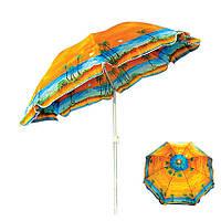 Зонт пляжный с наклоном и серебряным напылением, диаметр 1,7м., Пальма