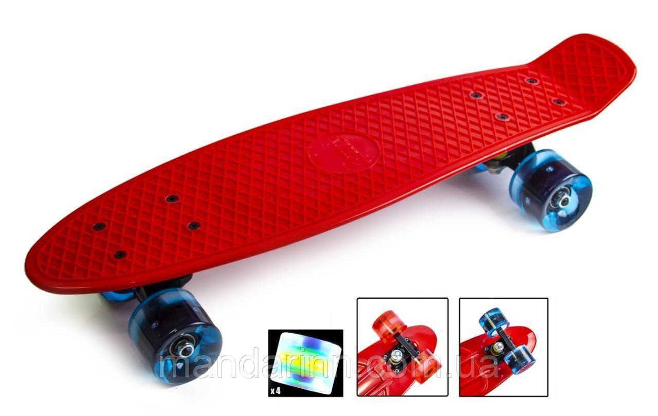 Скейтборд Original 22 Penny Красный LED Красные колеса
