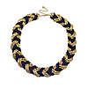 Ожерелье плетеное золотисто-синее