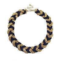 Ожерелье плетеное золотисто-синее, фото 1