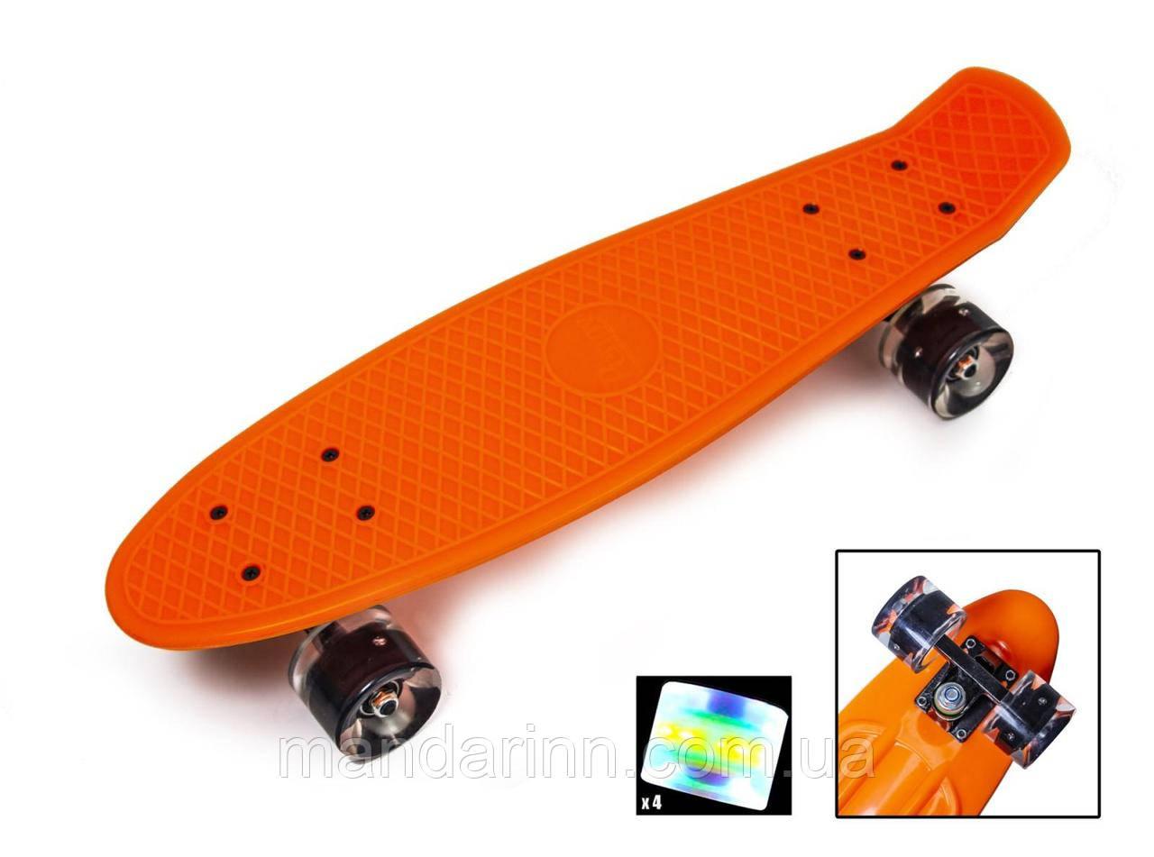 Скейтборд Original 22 Penny Оранжевый LED Светящиеся колеса