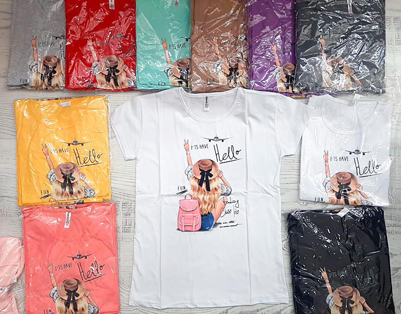 Турецкая женская футболка с рисунком 42-46 (в расцветках)
