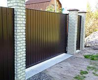 Ворота откатные, зашивка профнастил - вертикальное исполнение, фото 7