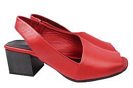 Босоножки женские на каблуке из натуральной кожи, красные Molly Bessa Турция
