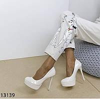 Туфлі білі, високий каблук, платформа,весільні туфлі 38, фото 1