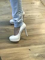 Туфли белые, высокий каблук, платформа,свадебные туфли 38, фото 1