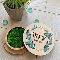Свадебная коробочка для колец из дерева со стабилизированным мхом