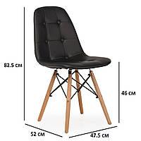 Черный обеденный стул из экокожи VM M-01 на буковых ножках в скандинавском стиле