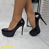 Туфлі жіночі класичні чорні ,високий каблук,платформа, фото 5