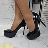 Туфлі жіночі класичні чорні ,високий каблук,платформа, фото 4