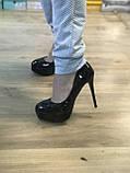 Туфлі жіночі класичні чорні ,високий каблук,платформа, фото 2