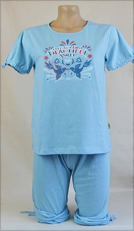 Женская пижама (фут. бриджи) (голубая), фото 2