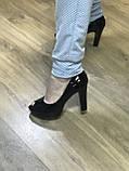 Туфлі жіночі класичні чорні ,каблук і платформа, фото 2