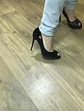 Туфлі жіночі класичні чорні ,каблук і платформа, фото 5