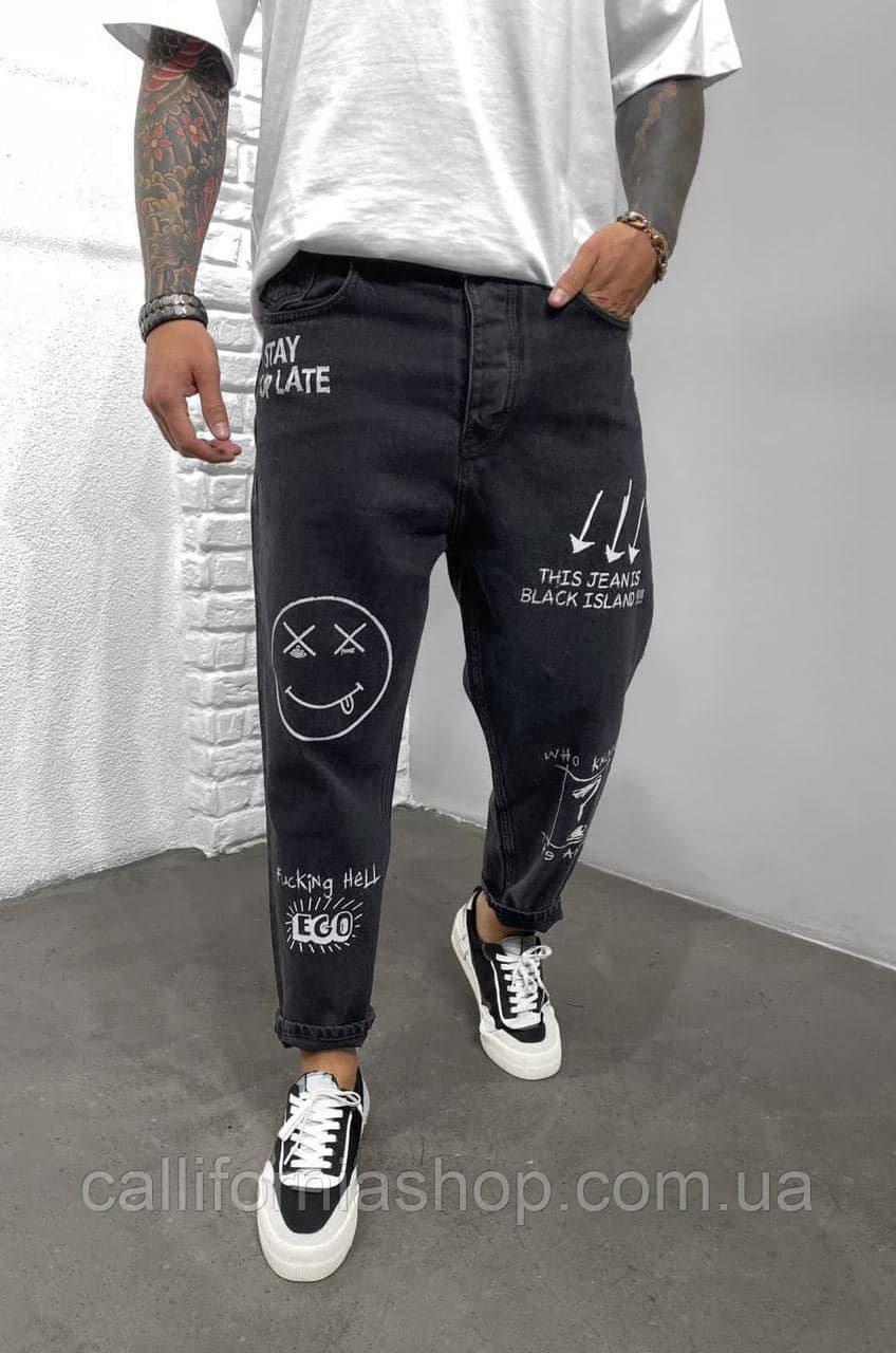 Чоловічі чорні джинси МОМ з оригінальними принтами і написами вільні прямі молодіжні