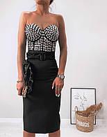 Классическая женская юбка-карандаш с поясом черный