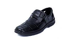Чоловічі шкіряні літні туфлі Matador Black, фото 2