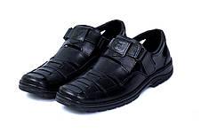 Чоловічі шкіряні літні туфлі Matador Black, фото 3