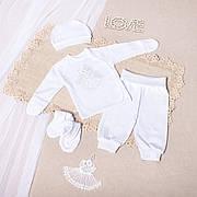 Костюм для крещения младенца (интерлок) - штанишки, рубашка, шапочка, топики - 62, 68 см