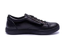 Мужские кожаные кеды Vans Clasic Black (реплика), фото 2