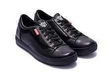 Мужские кожаные кеды Vans Clasic Black (реплика), фото 3