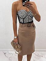 Классическая женская юбка-карандаш с поясом мокко
