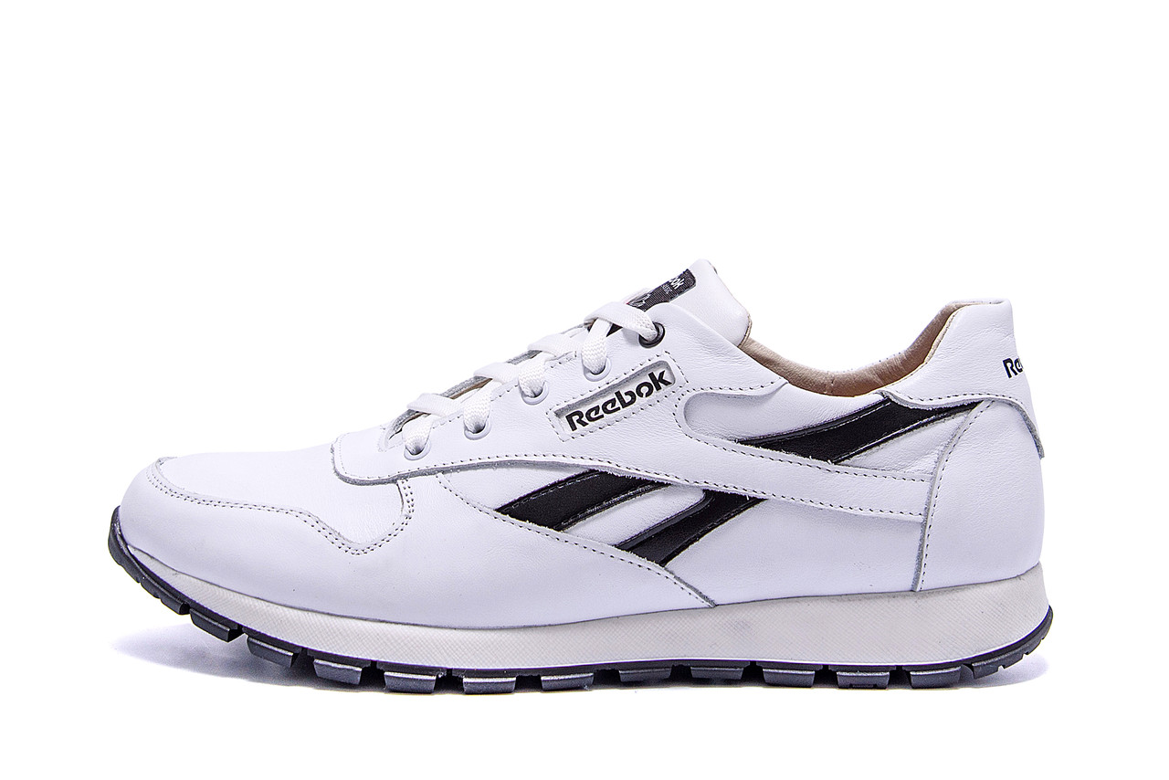 Мужские кожаные кроссовки Reebok Classic White  (реплика)